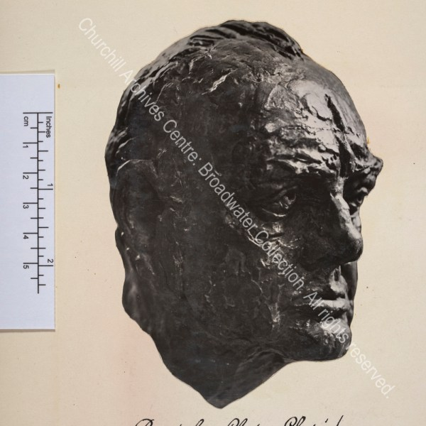 Photo shows a bust of WSC by Jacob Epstein [incorrectly captioned].