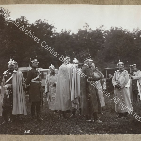 Photograph of Kaiser Wilhelm II and a group of others in uniform (mainly German officers
