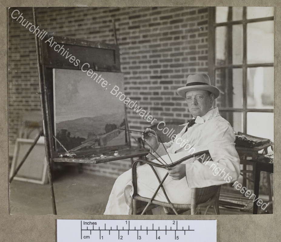 Photograph of WSC in his studio at Chartwell [Kent]
