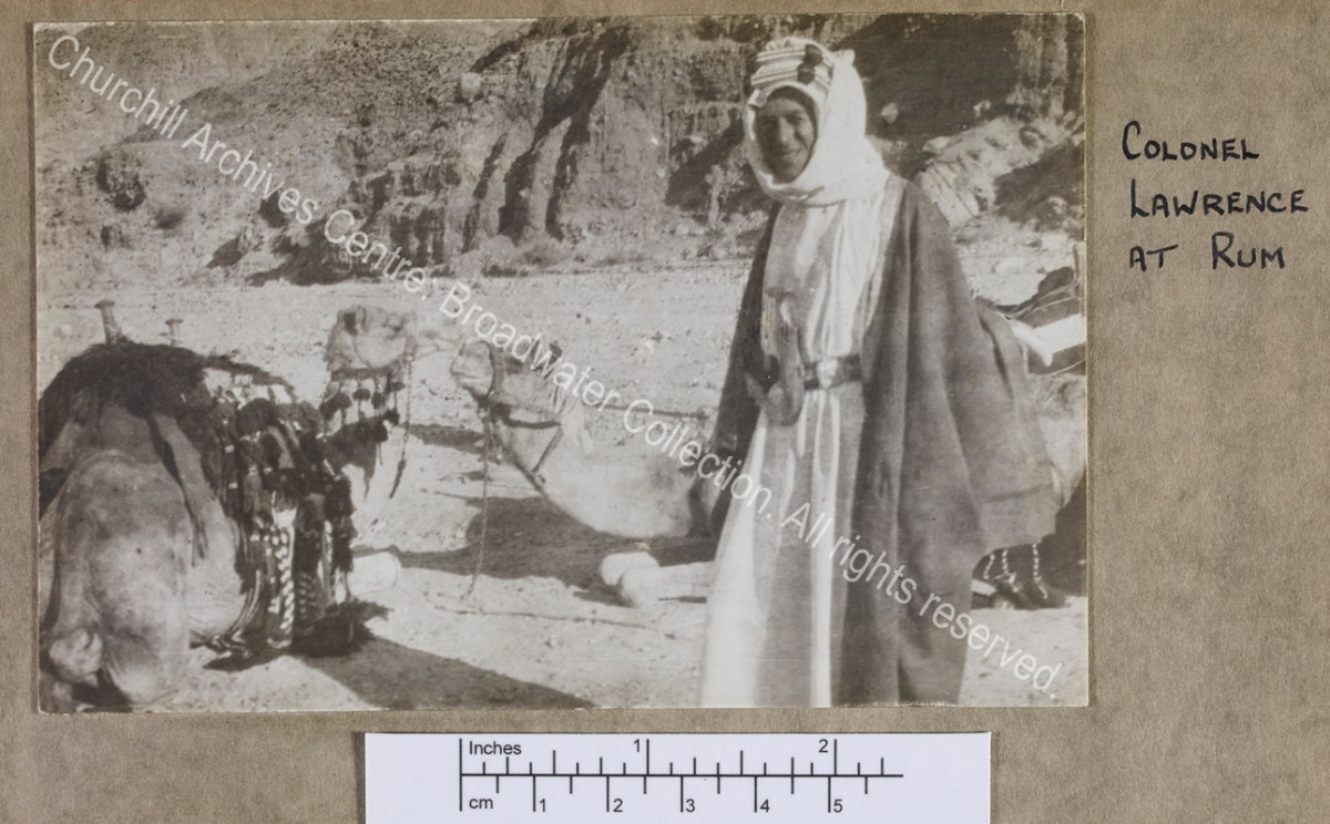 "Three quarter length photograph of T E Lawrence [""Lawrence of Arabia"""