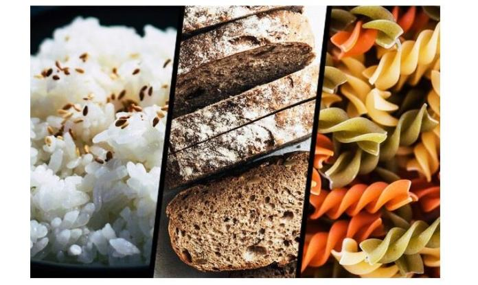White rice, bread and pasta