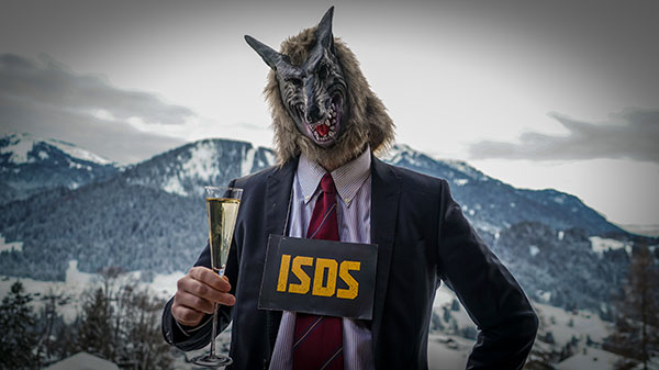 Anti-ISDS protestor dressed as corporate wolf in Davos