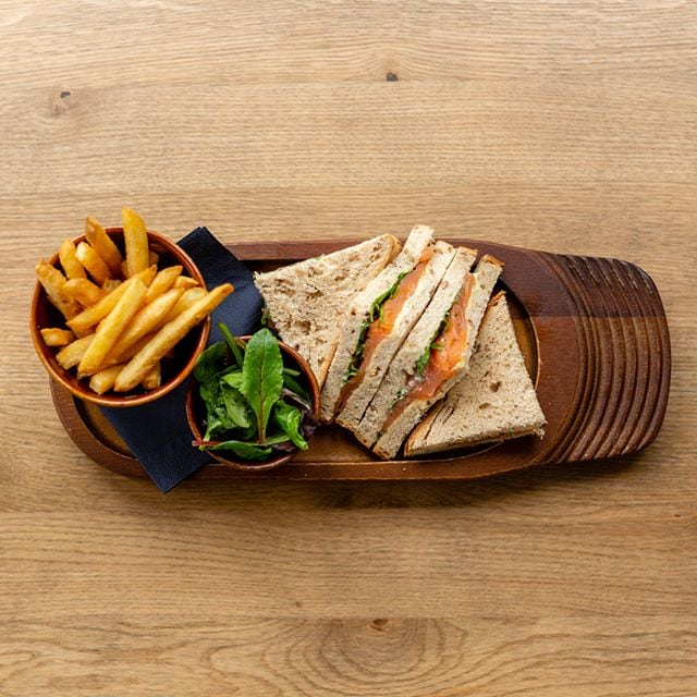Smoked Salmon and Horseradish sandwiches are served with fries and mixed leaf salad - Bell Hotel, Clare