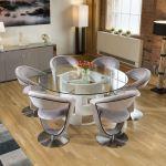 Round 1 6 Glass Top White Oak Dining Table 6 Grey Velvet Swivel Chairs Ebay