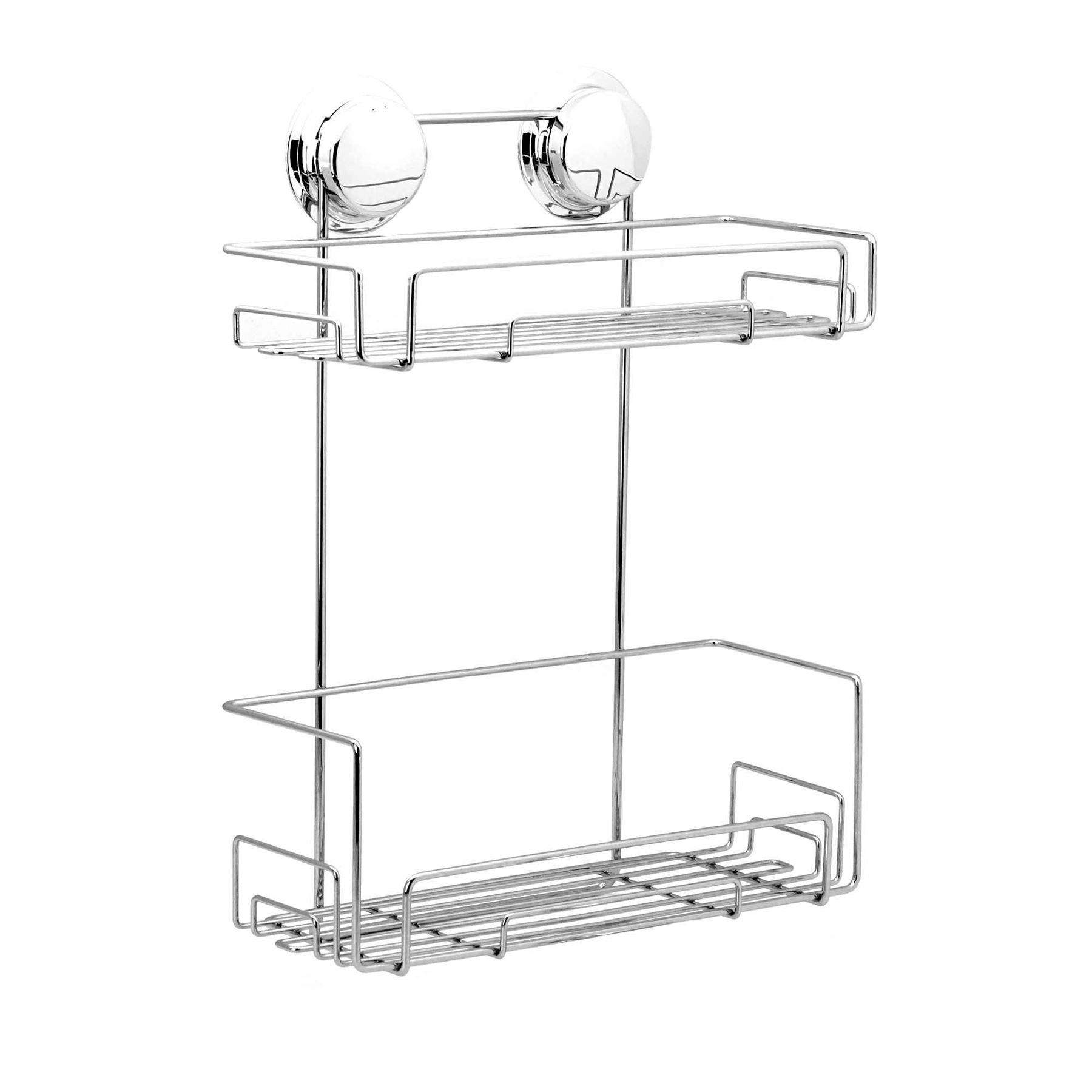 Bathroom Double Shelf Twist And Lock Caddy Shower Bath