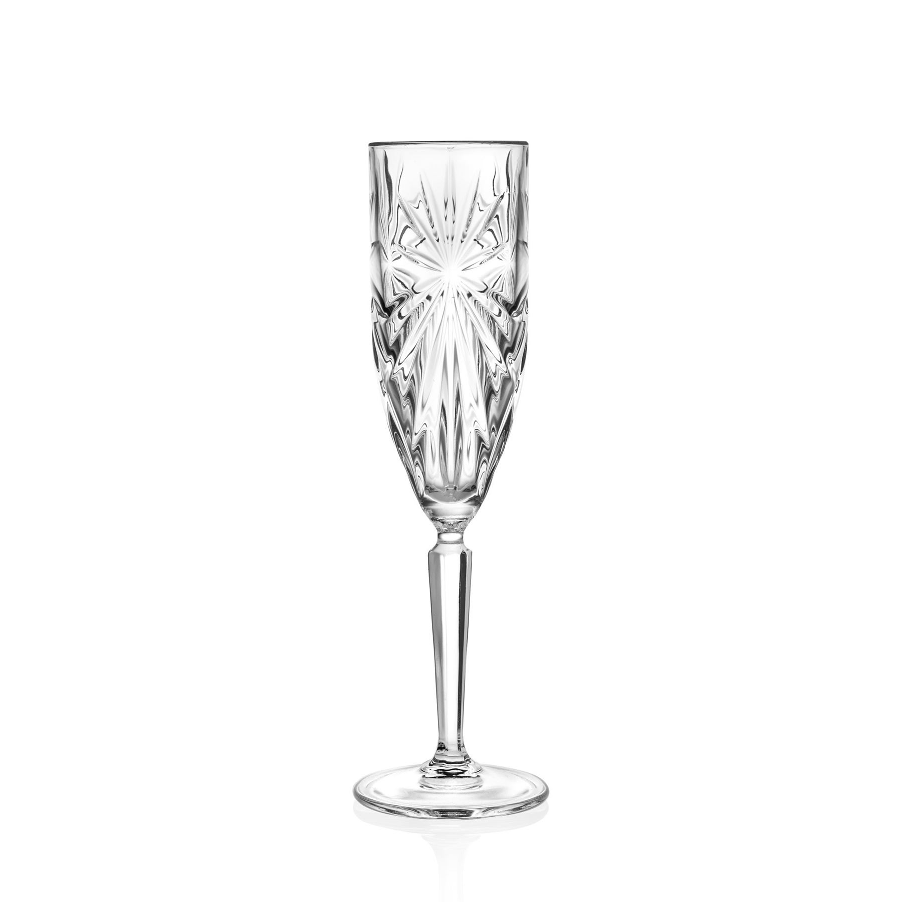 6x Oasis Cut Glass Champagne Flutes