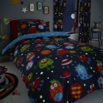 Hlc Boys Girls Space Monsters Glow In The Dark Blue Duvet Cover Curtains Ebay