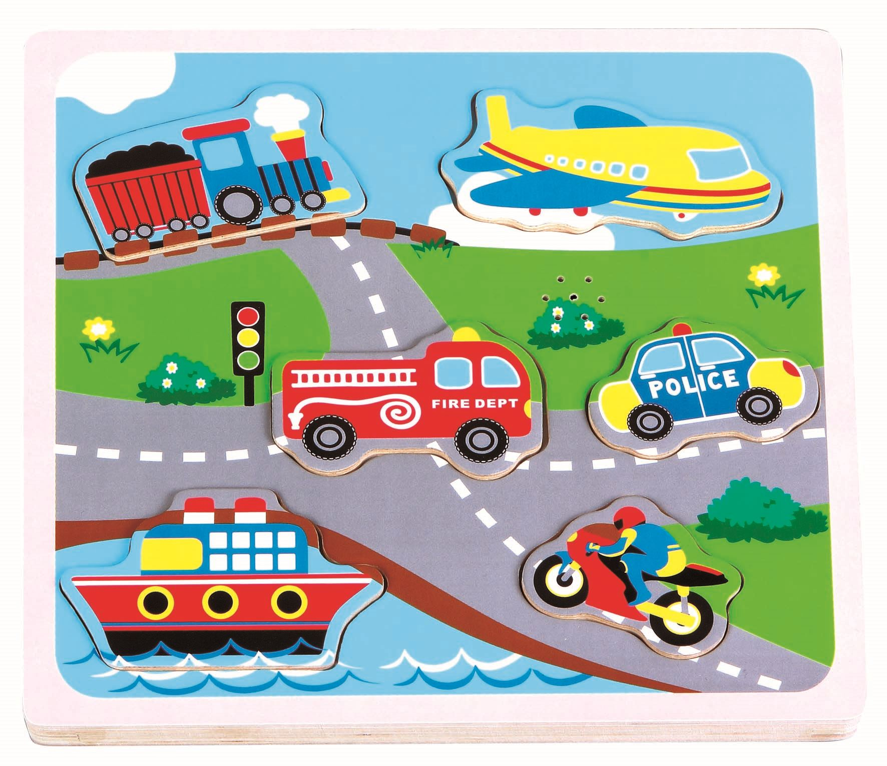 Lelin Wooden Transport Vehicle Sound Musical Jigsaw Puzzle
