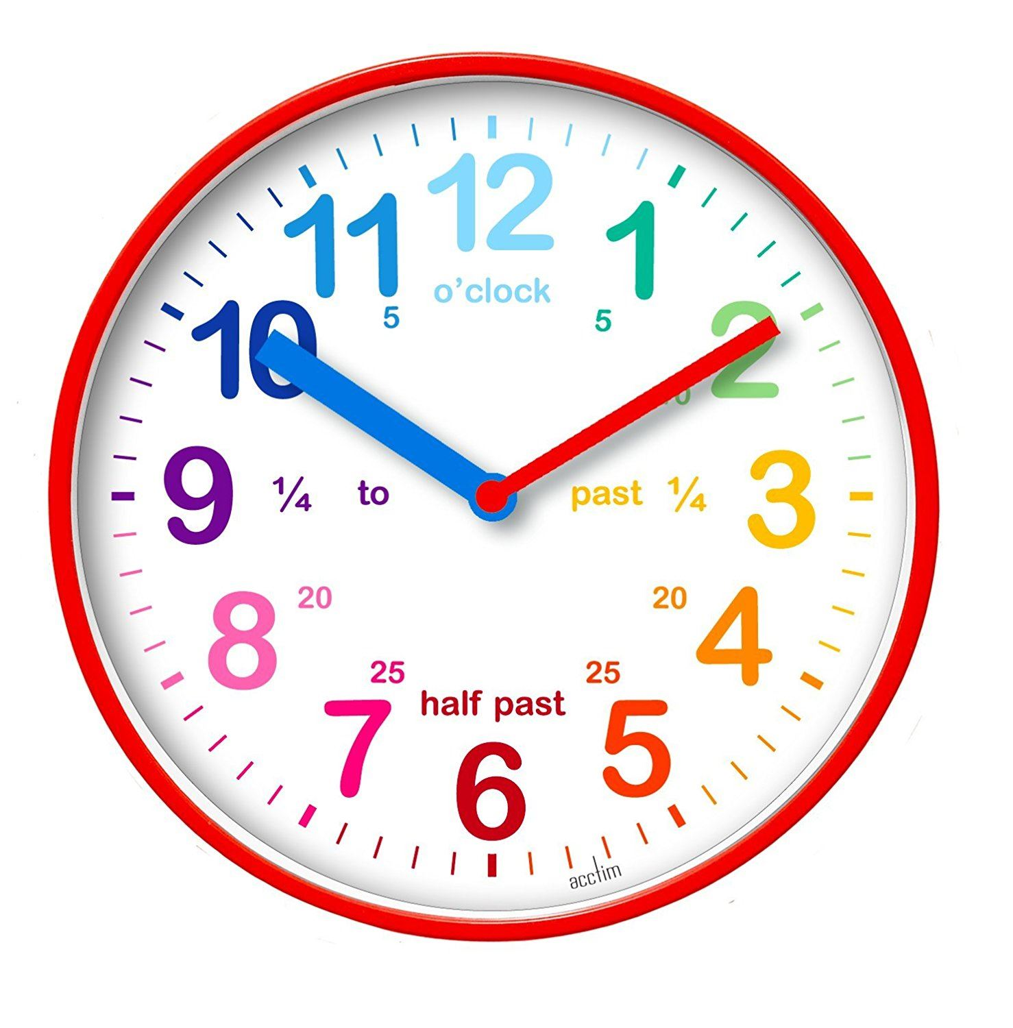 Acctim Wickford Kids 20cm Wall Clock Colourful Dial Learn