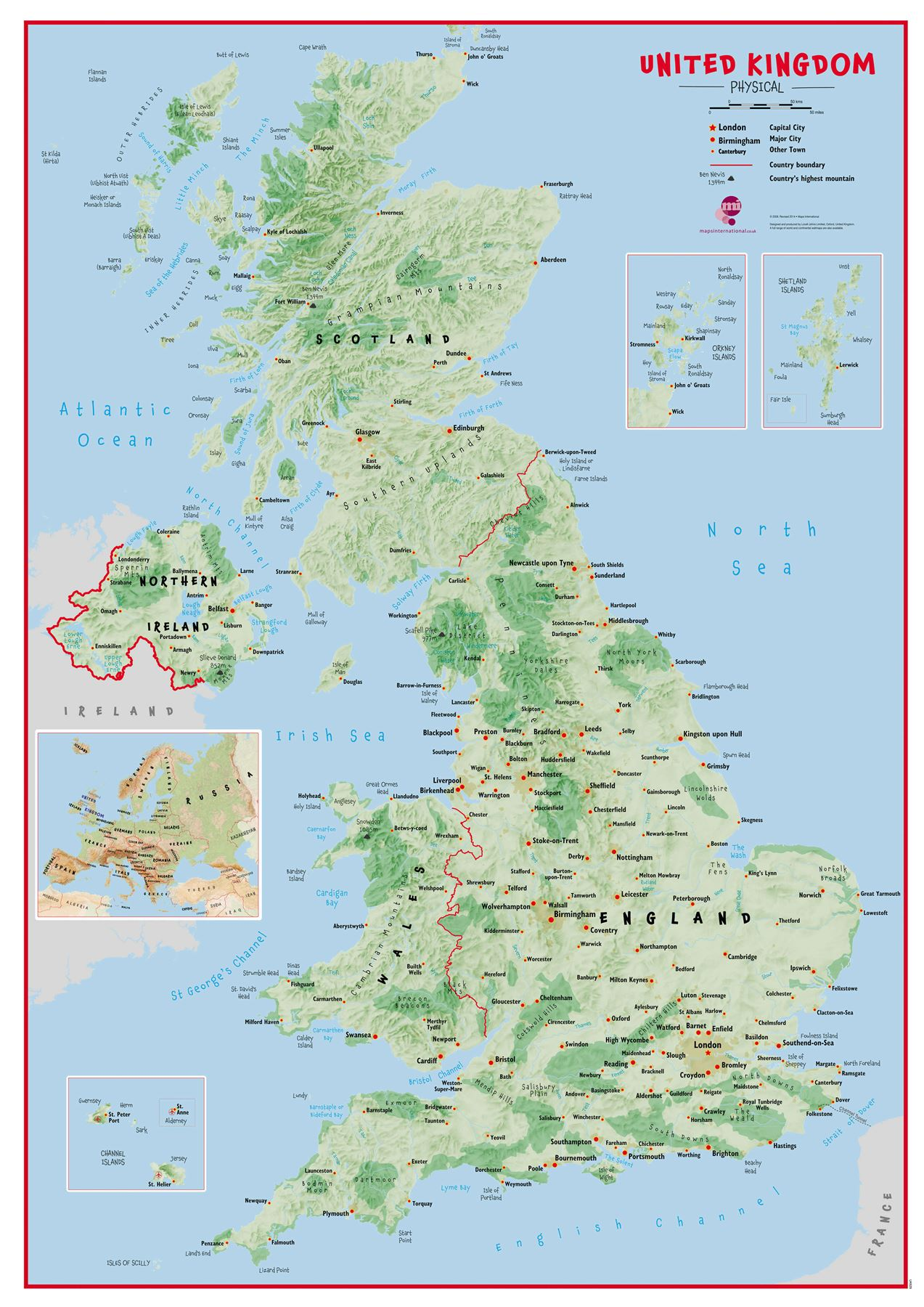 Primary Uk Wall Map Physical Poster Print Art Map Choose
