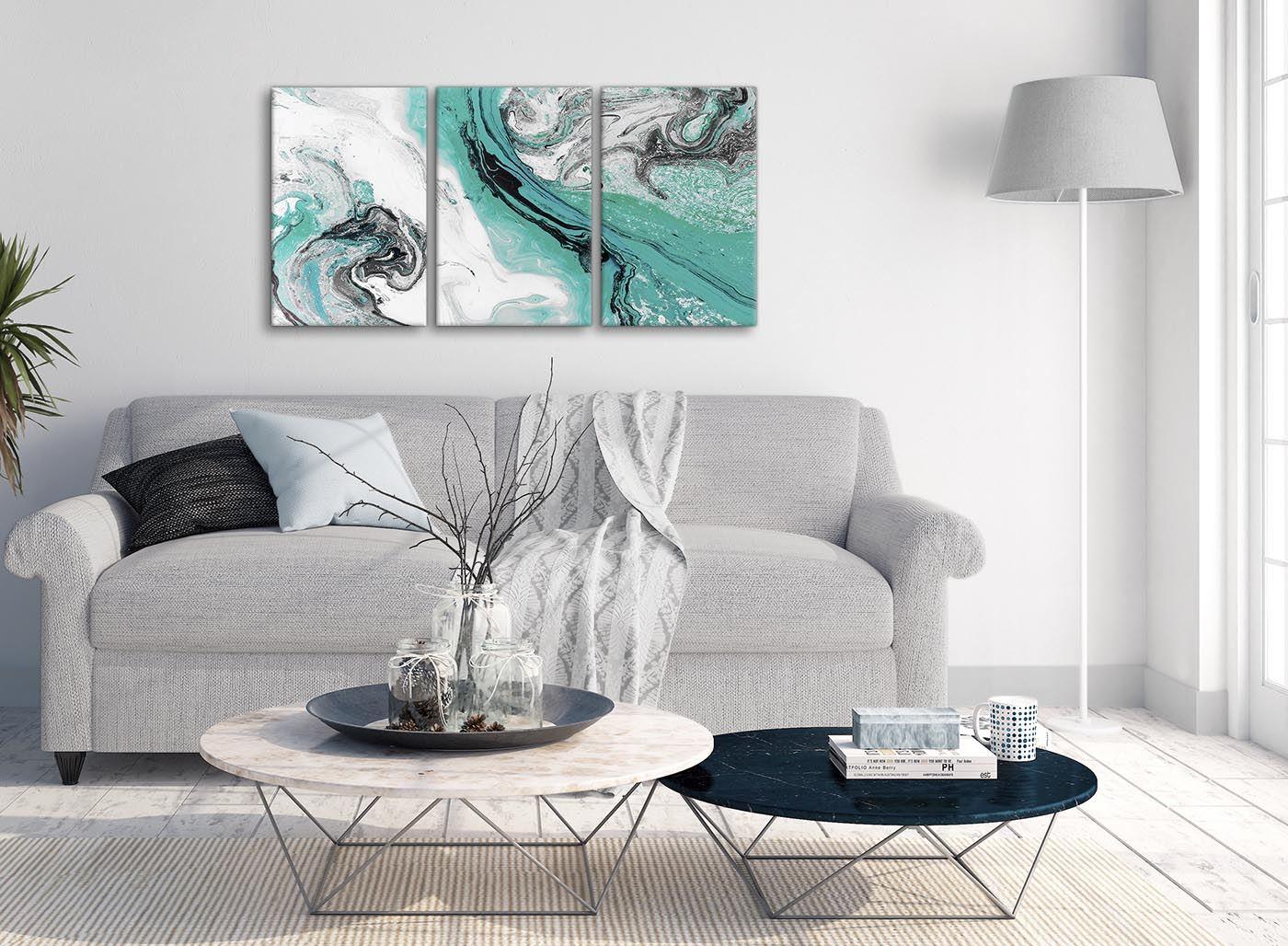 turquoise et gris tourbillon salon toile wall art abstract print maison tentures murales tapis alfa bau gmbh de