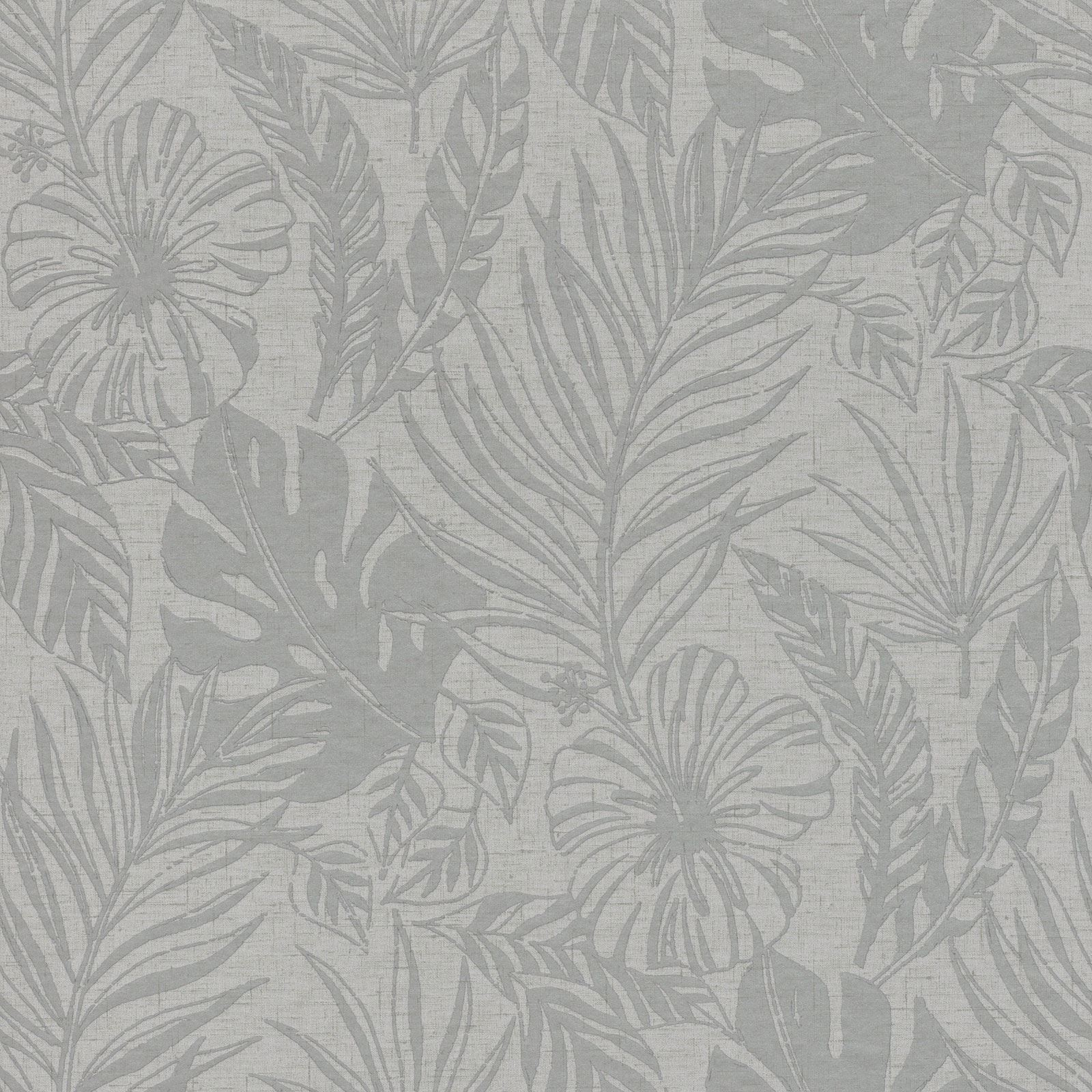 Portfolio Tropische Blatt Tapete Grau Silber Rasch