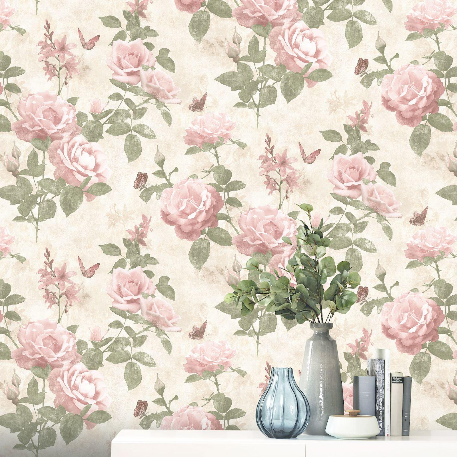 Portfolio Vintage Rose Wallpaper Pink Natural Rasch 215007 New Floral 4000441215007 Ebay