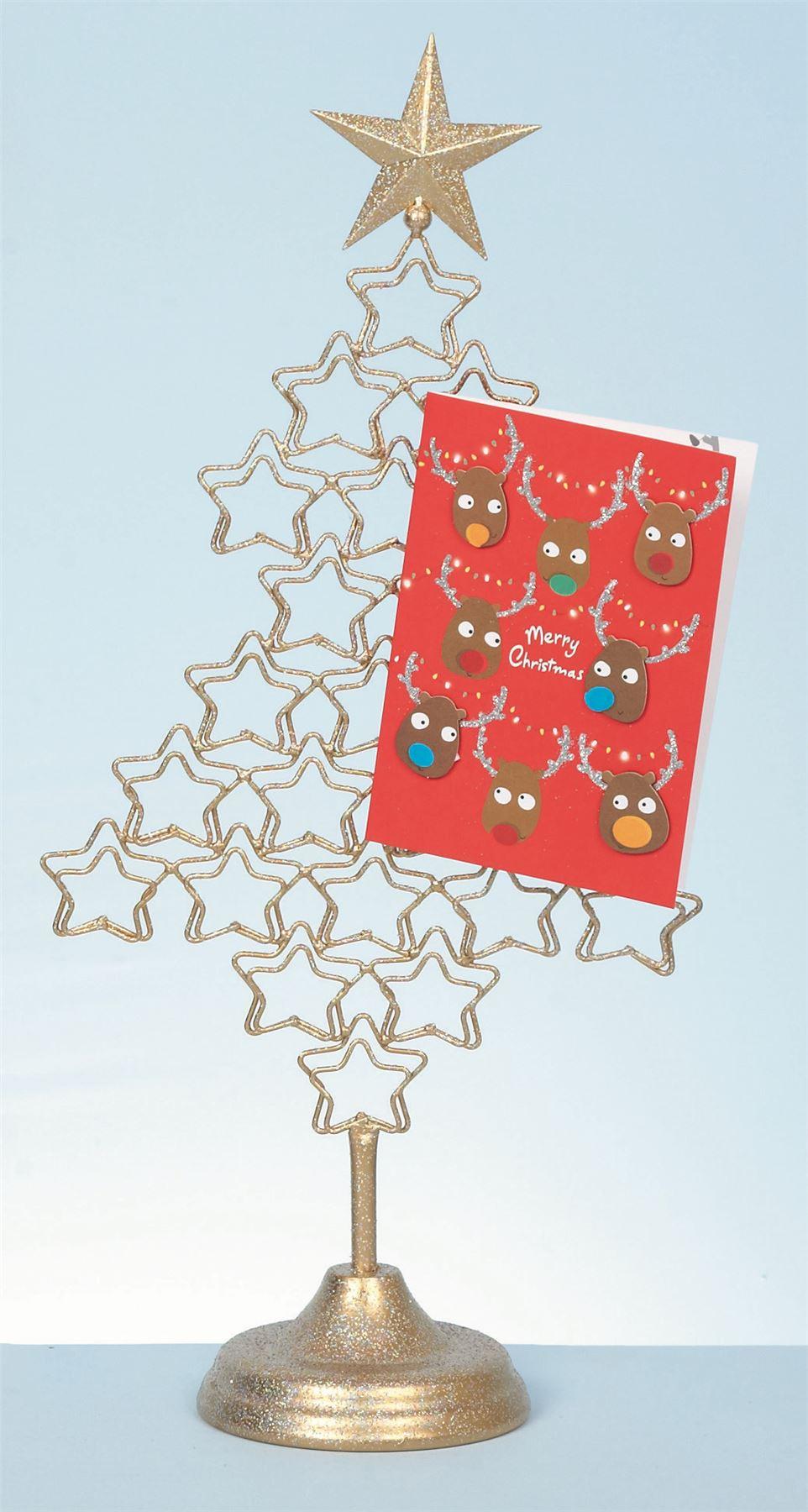 Metal 54cm Christmas Tree Card Holder Xmas Freestanding