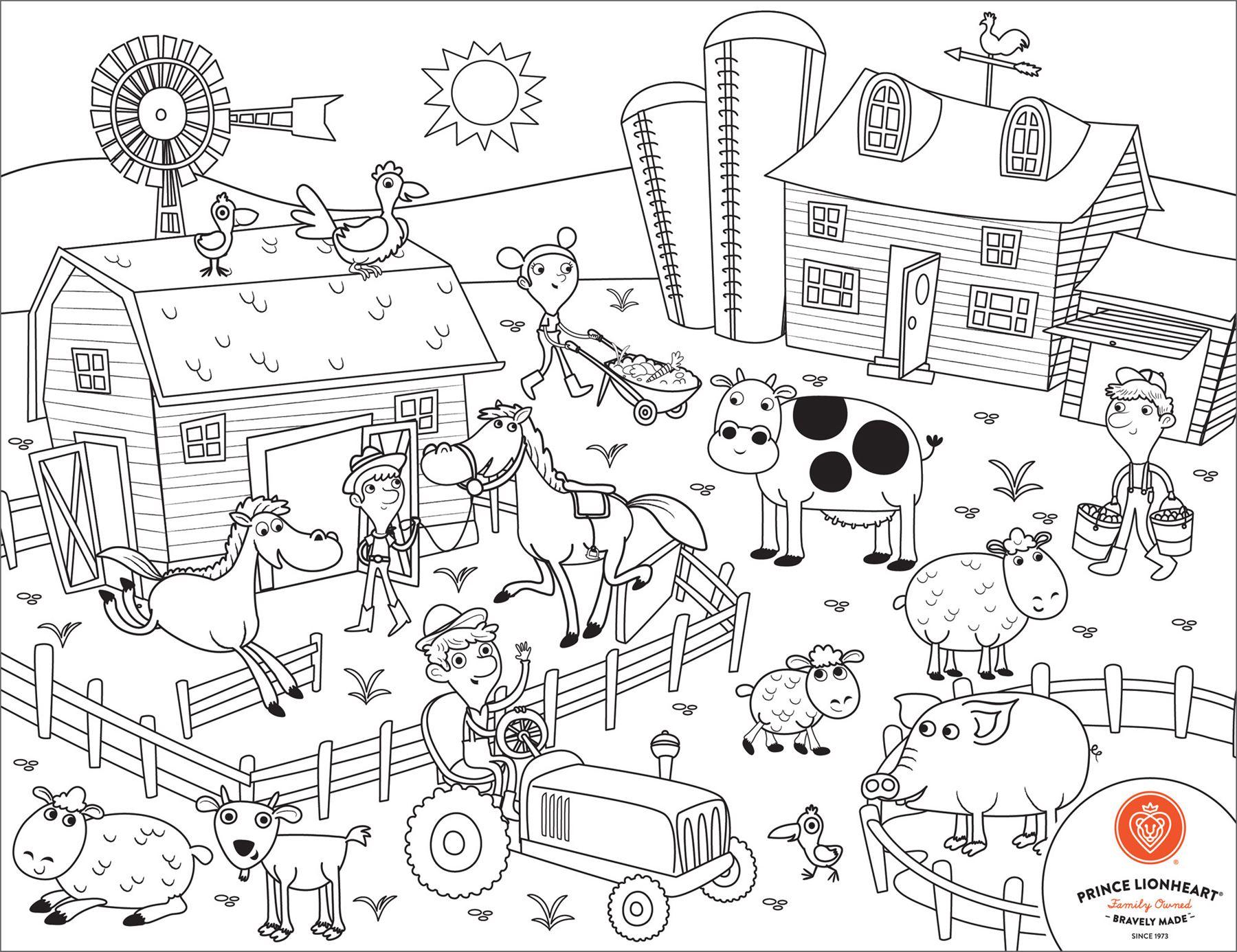 Prince Lionheart Colour Draw Placemat Farm Baby Activity
