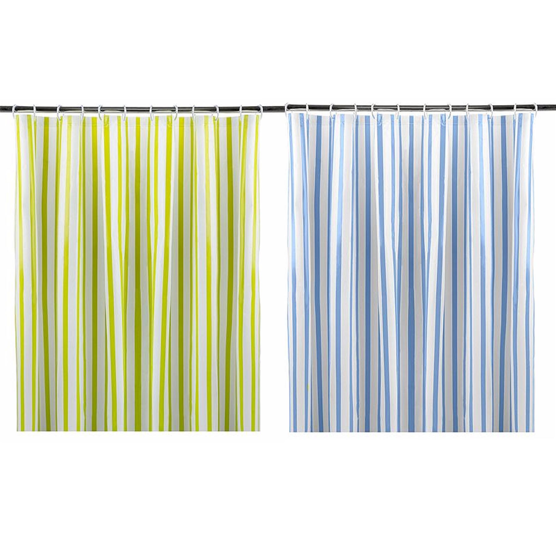 Details About Striped Shower Curtain With Eyelet Ring Top Lime Green Or Blue 180x180cm