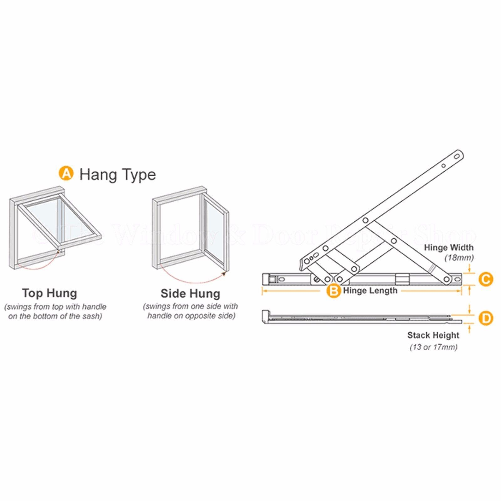 Upvc Window Hinges Friction Stays Top Hung Side Hung 8 10 12 16 20 24 Pair