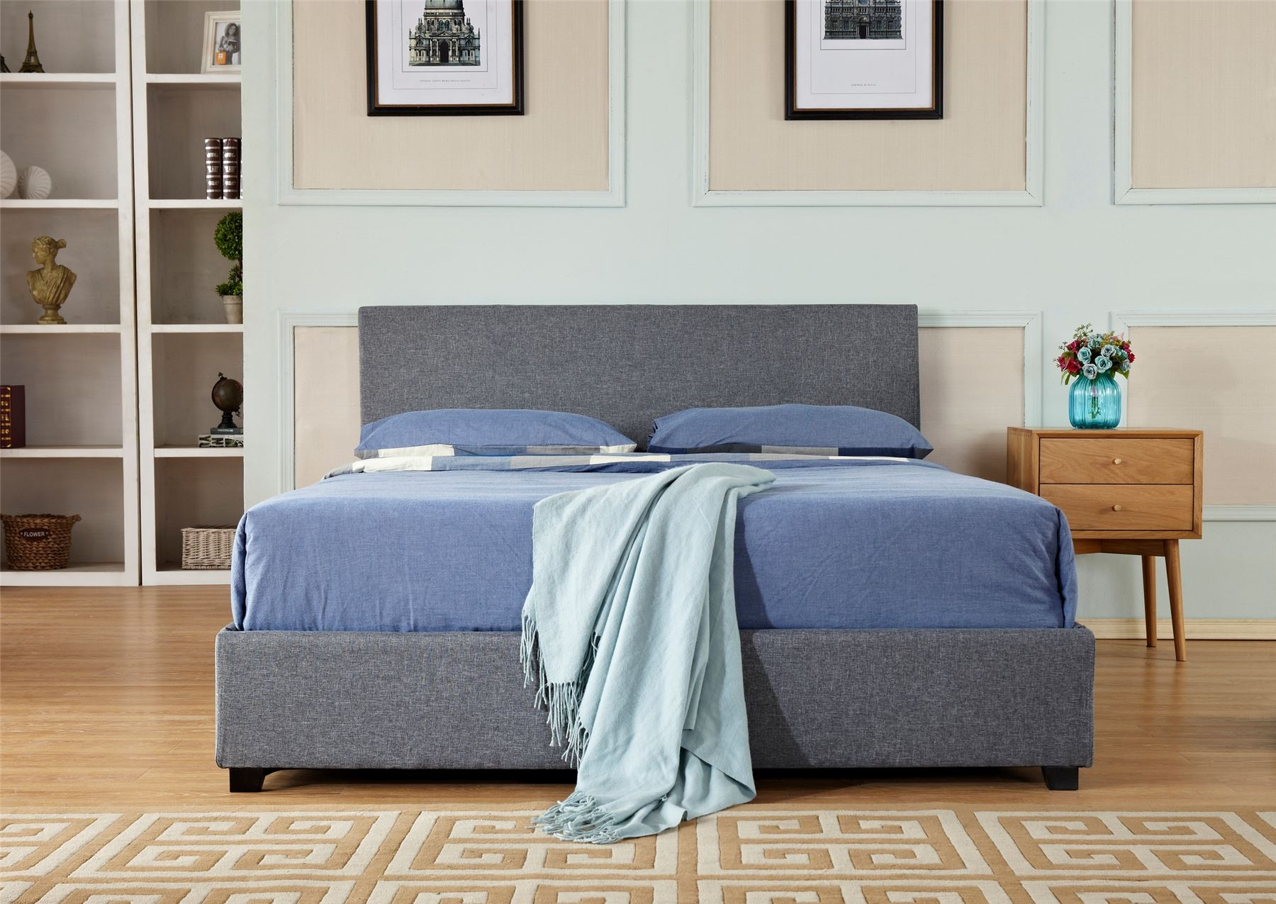Ottoman Storage Gas Lift Up Double Amp King Size Fabric Bed