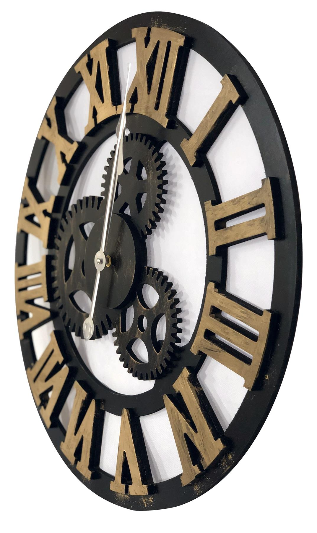 Large Wooden Skeleton Roman Numeral Wall Clock Black Amp Gold