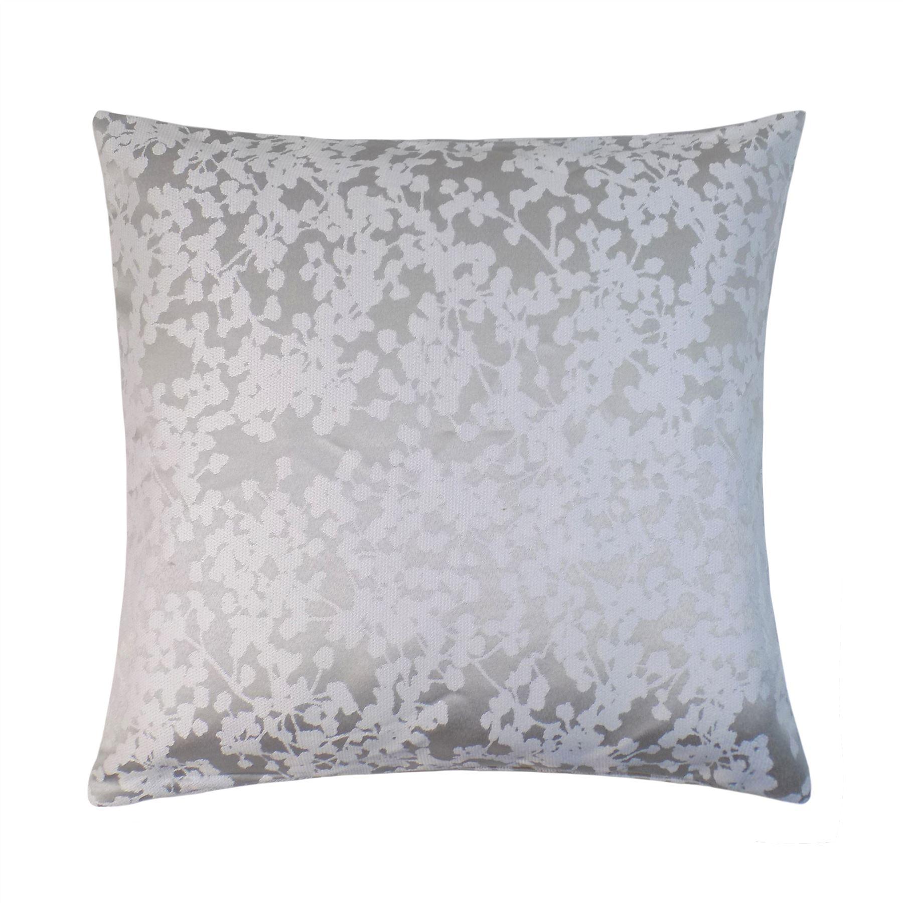 Floral Gris Argente Blanc Rideaux Double Avec Anneau En