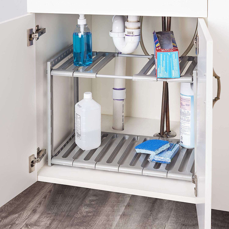 details about under sink storage shelf shelves organizer space saving tidy rack cupboard grey