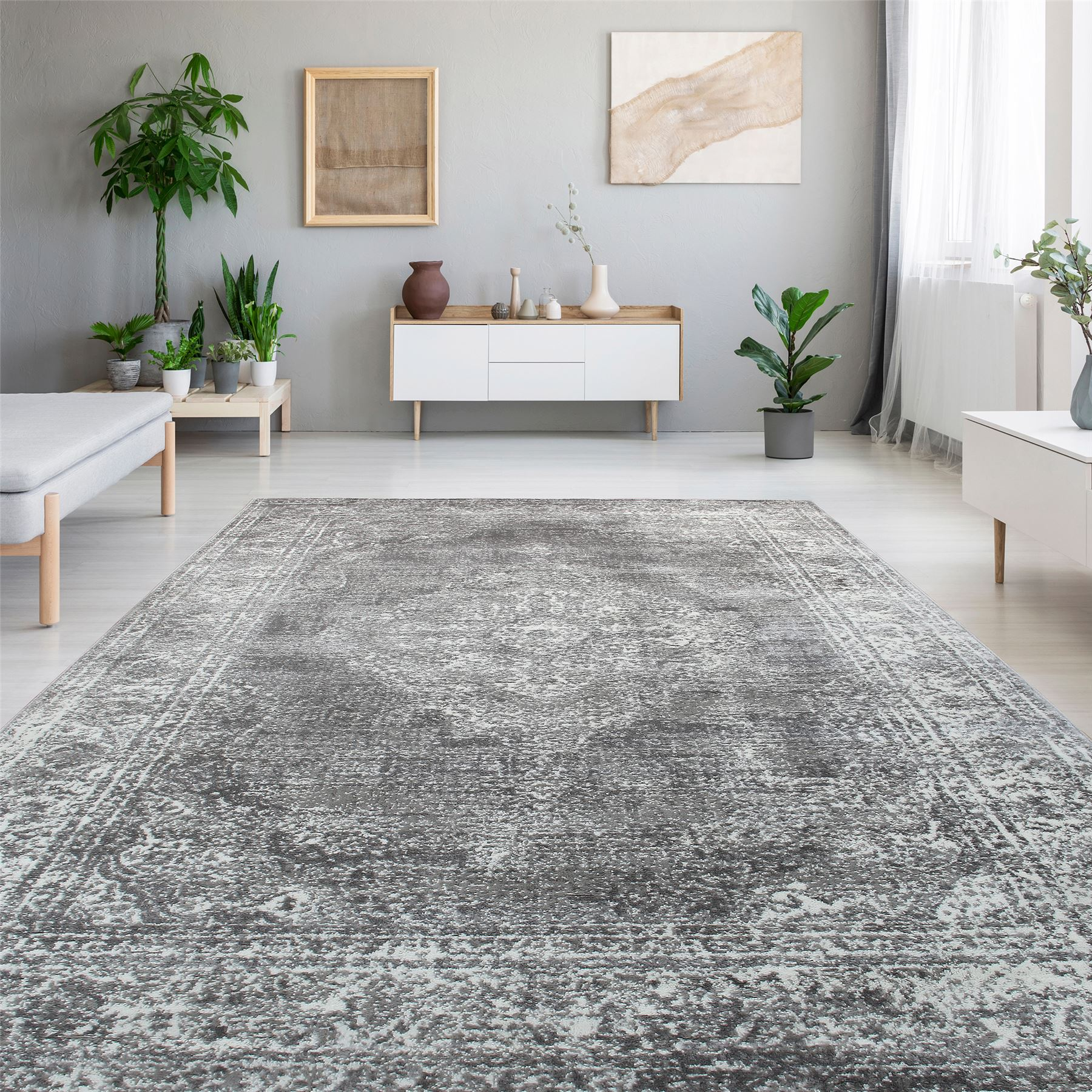 Details About Large Medium Grey Oriental Dining Room Rugs Luxury Floral Rug Runners 10mm Pile