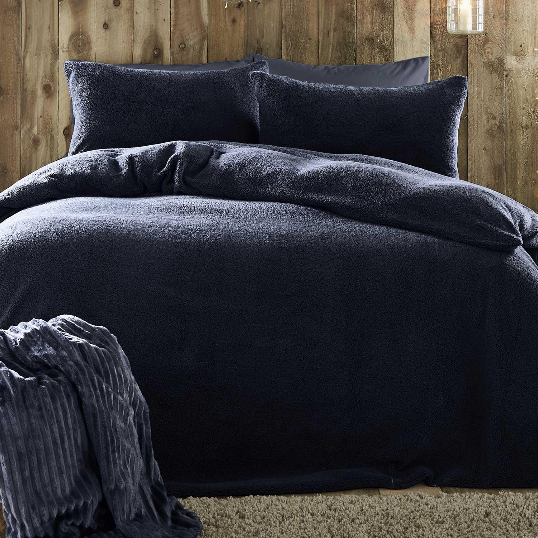 details about navy duvet covers teddy bear fleece plain cosy blue quilt cover bedding sets