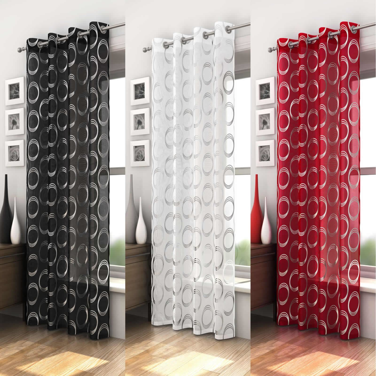 MEXICO RETRO CIRCLE PATTERN VOILE CURTAIN PANEL READY MADE RED BLACK WHITE GREY EBay