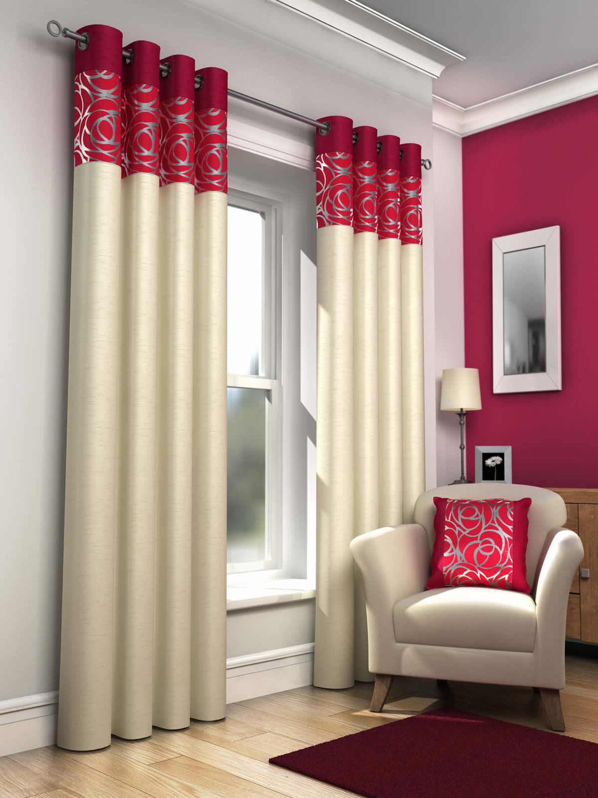 Skye Lined Eyelet Curtains Faux Silk Metallic Ready Made