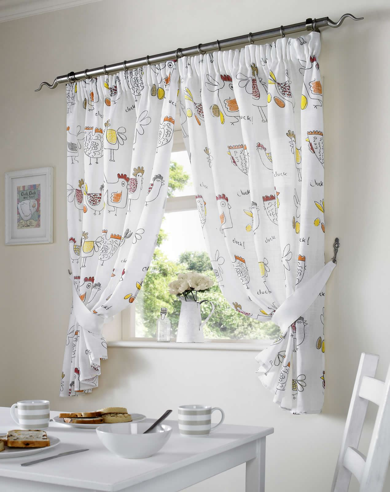 CHICKENS KITCHEN CURTAINS READY MADE PAIRS DINING ROOM CURTAINS ALL SIZES EBay