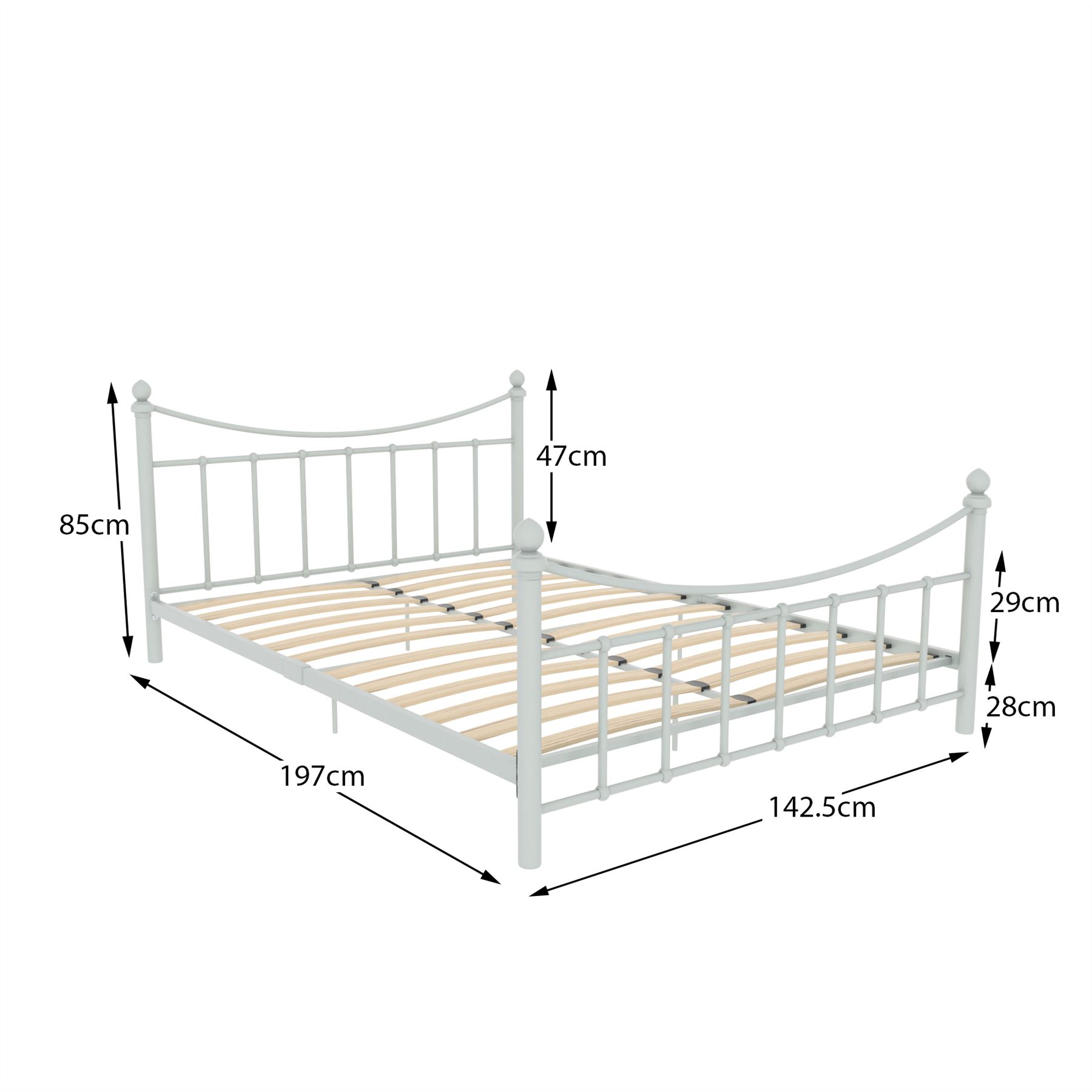 Metal Bed Double King Size Frame 4ft 4ft6 5ft Mattress
