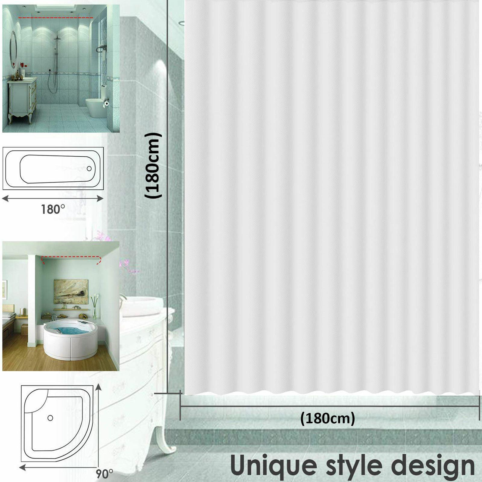 Waterproof Bathroom Shower Curtain Extra Long 12 Hooks Ring