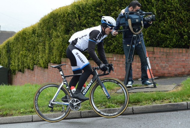 Degenkolb passes TV cameraman near the top of Jenkin Road.