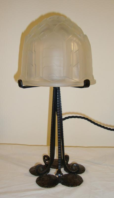 Verreries Des Hanots Wrought Iron Mushroom Table Lamp France C 1930