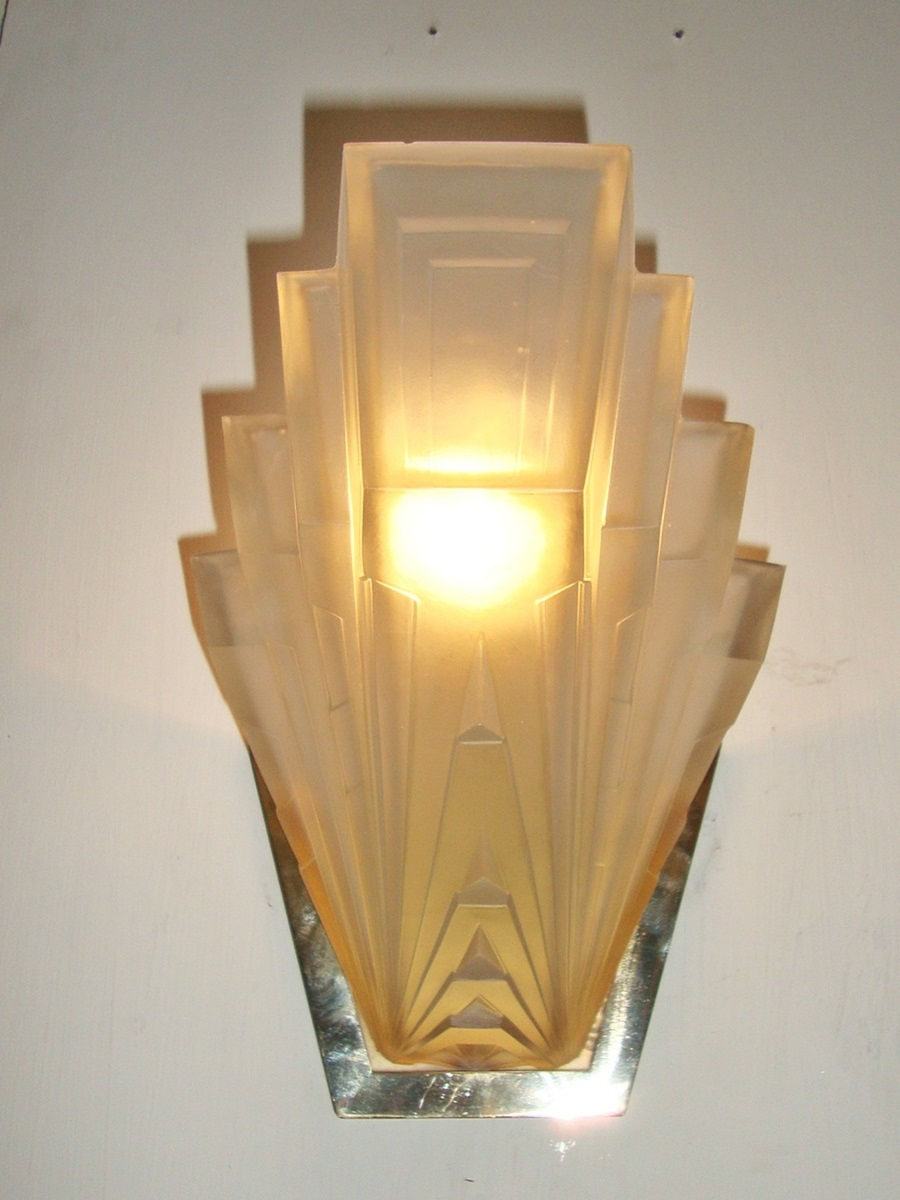 French art deco frosted glass wall lights, circa 1930 – Jones ...