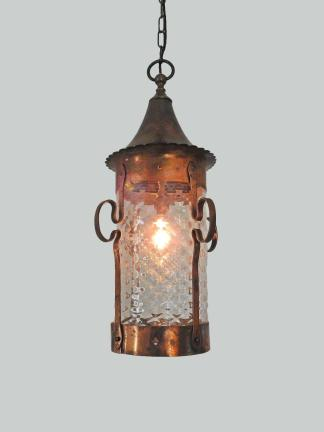 A large oxidised copper arts crafts lantern
