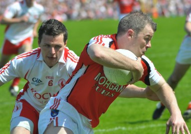 Ronan Clarke evades Conor gormley (6) Armagh v Tyrone 1st round Ulster Senior Football Championship. Clones. Reigning All Ireland Champions Tyrone defeat current Ulster champions Armagh Final score 2-10 1-10. Photo by Liam McArdle