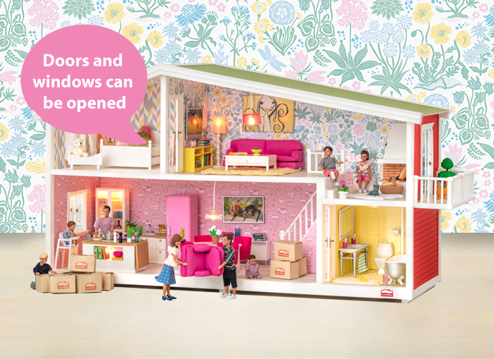 Doll s houses   Lundby A fabulous house with an open plan layout and beautiful wallpaper from  Sandberg Wallpaper  You can plug in lamps for lighting and even music in  the doll s