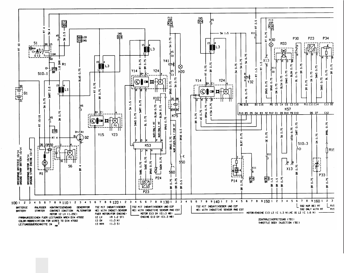 Opel Vectra B Circuit Diagram