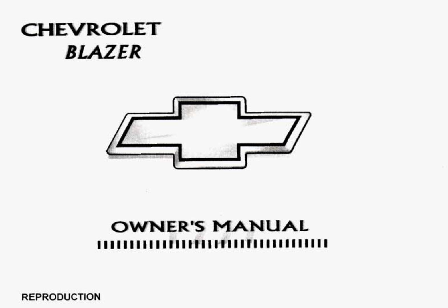 Chevy Blazer Owners Manual