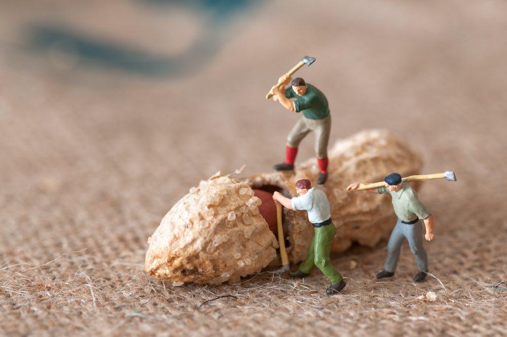 toy figures cracking peanut