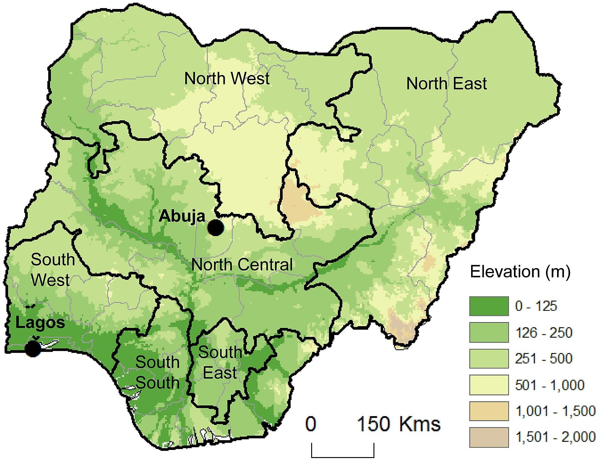 Nigeria Map Geopolitical Zones