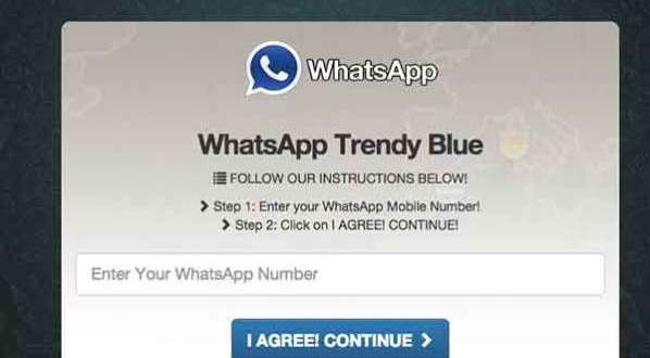 La version bleue de WhatsApp est un Scam