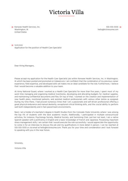 Healthcare Specialist Cover Letter Sample Kickresume