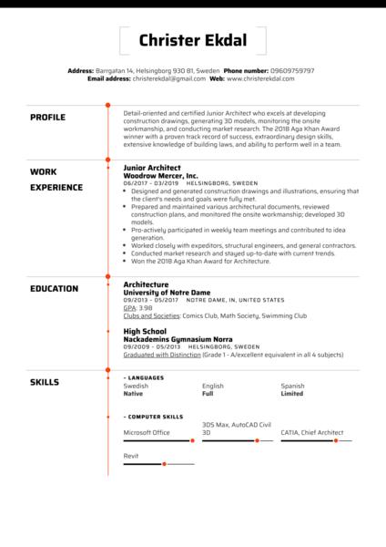 Junior Architect Resume Sample Kickresume