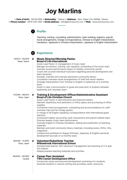 Education Resume Samples Kickresume
