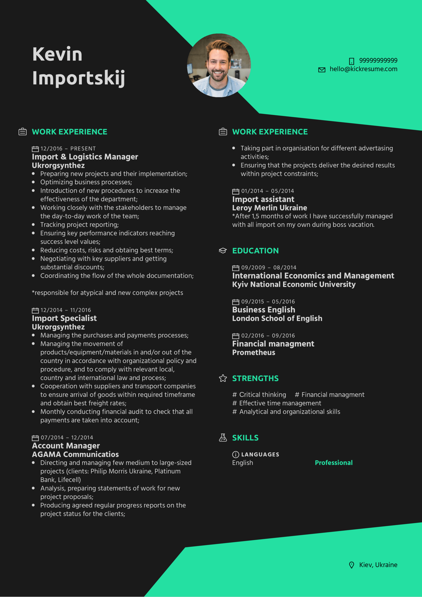 Resume Examples By Real People Import Amp Logistics Manager