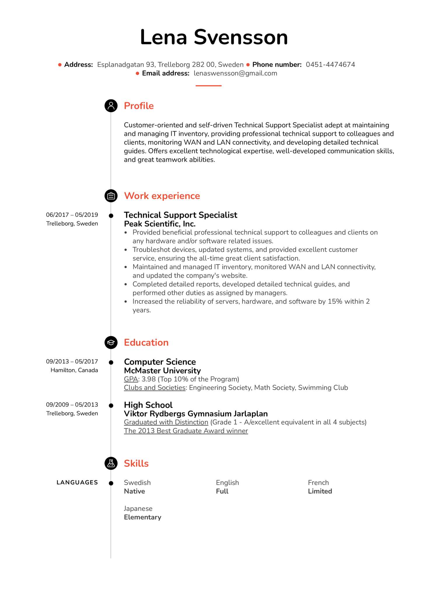 Resume Examples By Real People Technical Support Specialist