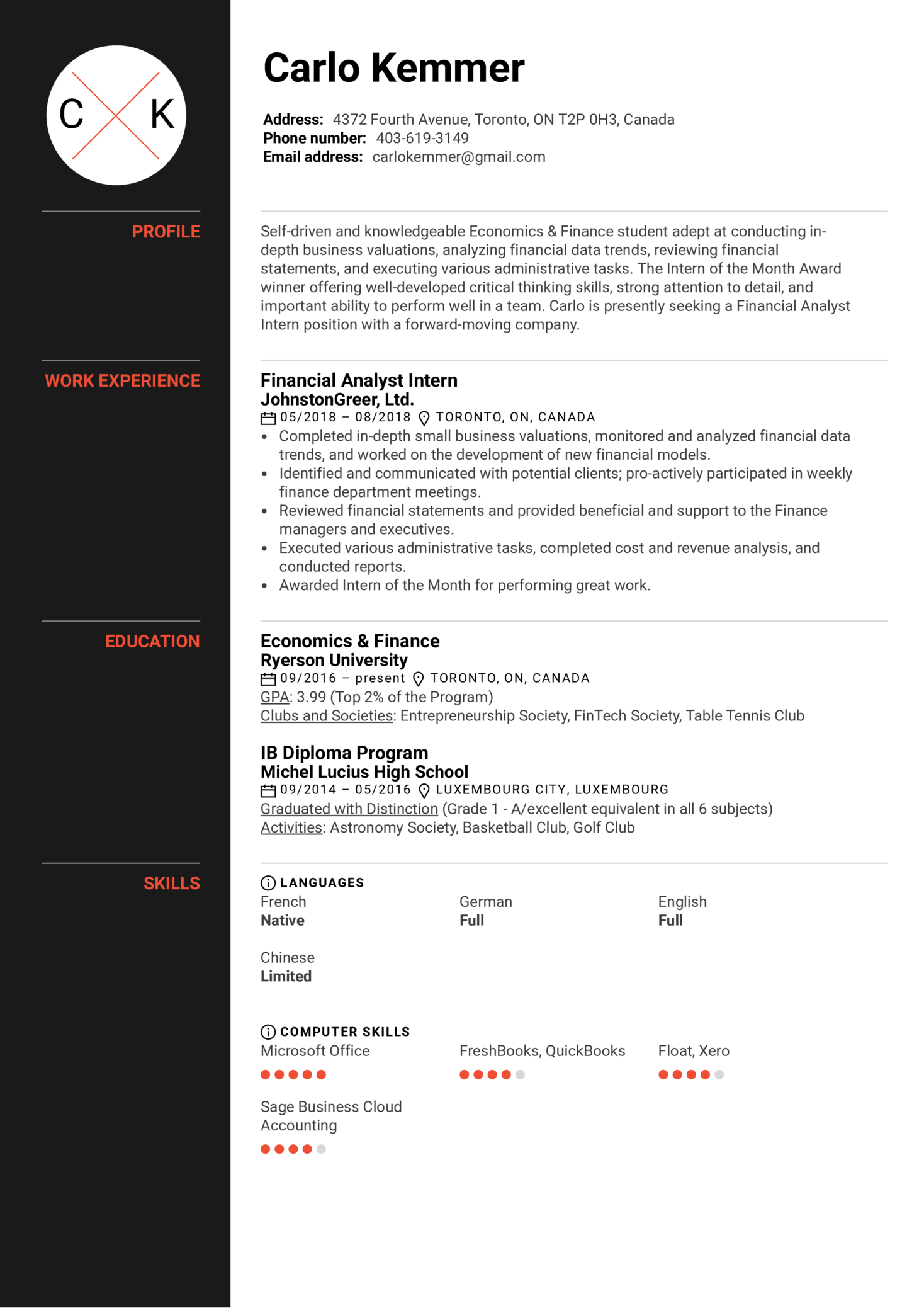 Resume Examples By Real People Financial Analyst Intern