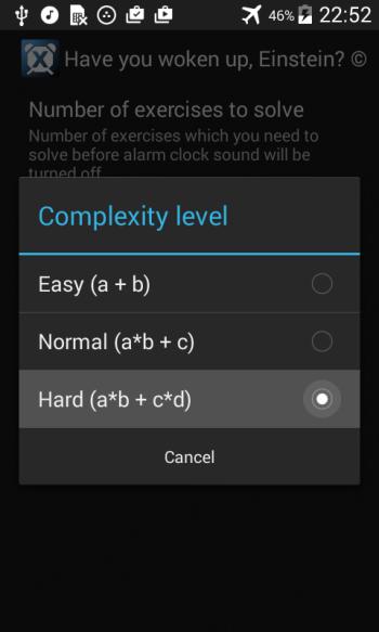 Выбрать уровень сложности математики будильника
